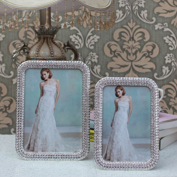 silver rhinestone 5x7 photo frames wedding