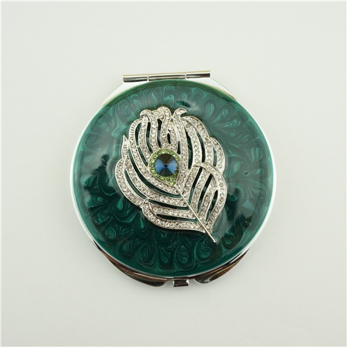 Peacock blue crystal compact mirror/Mothers day gifts
