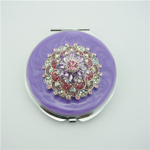 Luxurious and noble compact mirror/crystal flower compact mirror