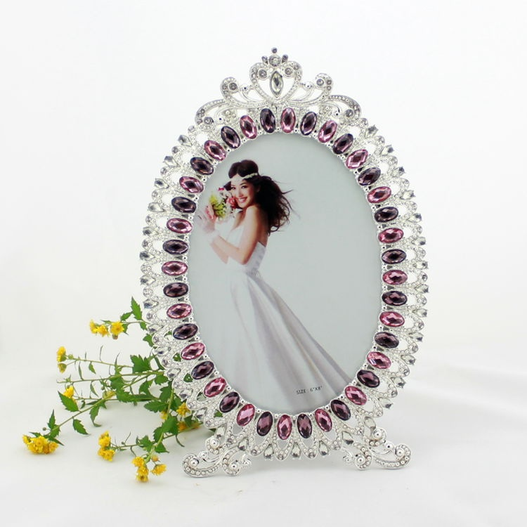Wholesale photo frames oval 5x7 inch rhinestone element for Craft picture frames bulk