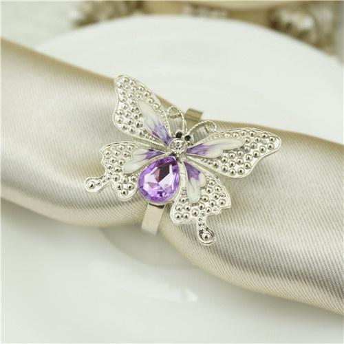 Wedding Decor Purple Butterfly Napkin Ring Metal Napkin