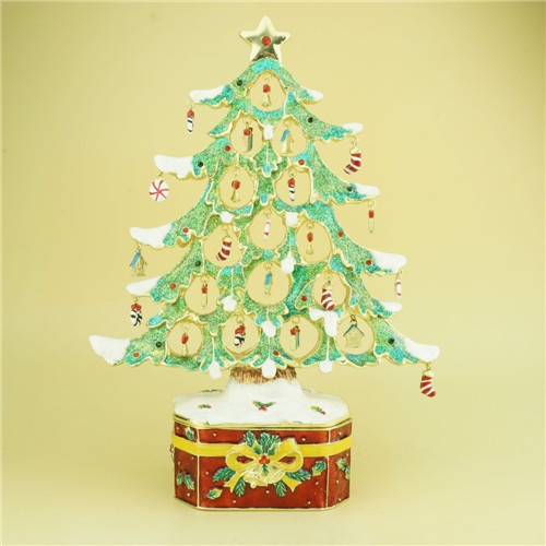 Christmas decor pewter Christmas tree jewelry box metal trinket box