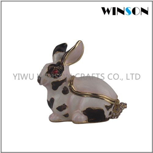 Pewter Jewelry Box / Crytals Rabbit Jewelry Box