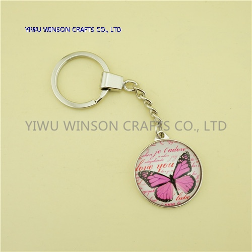 Single Side Crystal Butterfly Key Chain/Custom Logo Key Chain