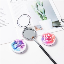 Round personalized mirror compact/PU compact mirror