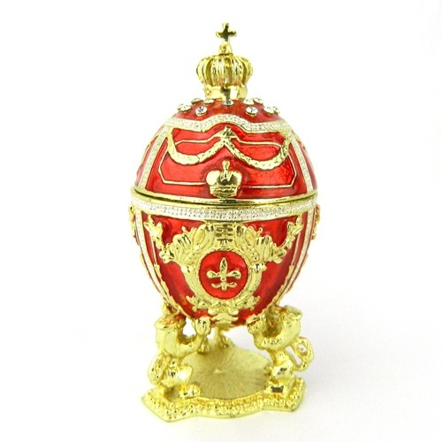 Red faberge egg trinket gift/Vintage jewelry box