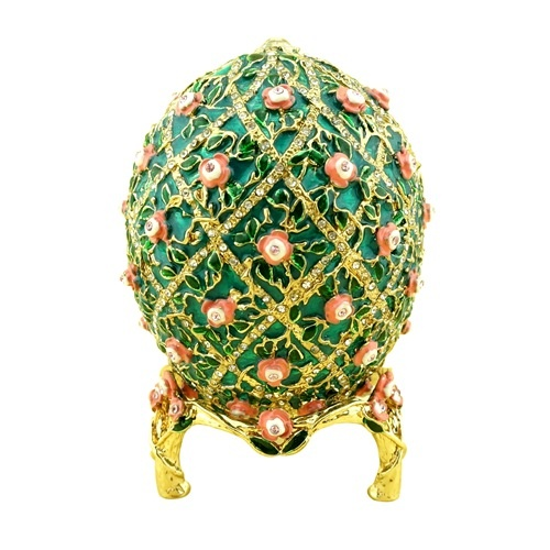 Decorative faberge egg/Trinket jewel box grid with flowers