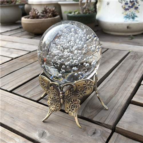 80mm Crystal Bubble Ball with Metal Butterfly Base
