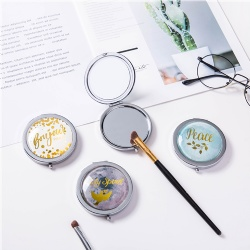 Customize Metal Compact Mirror/4C Printed Domed Glass