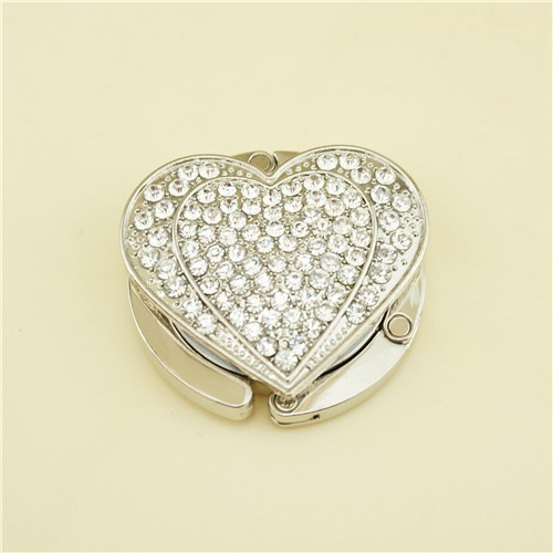 Metal bag hanger / bling love heart bag hanger
