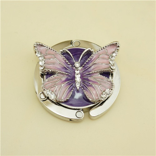 Metal bag hanger / enamel butterfly